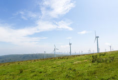 Wind turbines on a wind farm in Galicia, Spain Stock Images