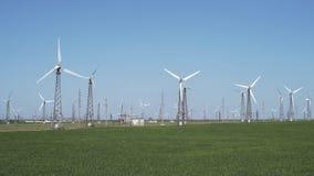 Wind Turbines On A Wind Farm stock video
