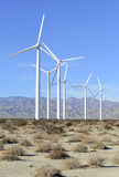 Wind Turbines in Wind Farm, Southwest Desert, USA Stock Photo