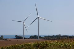 Wind Turbines on a Wind Farm. For irrigation and alternative power generation Stock Images