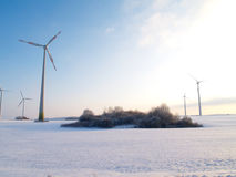 Wind turbines in winter Royalty Free Stock Image