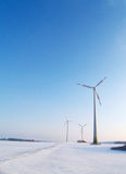 Wind turbines in winter Royalty Free Stock Images