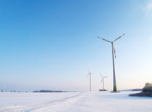 Wind turbines in winter Stock Photo