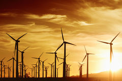 Wind Turbrines at Sunset Royalty Free Stock Photos