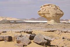 Wind und Sonne modellierten Kalksteinskulpturen in der weißen Wüste, Ägypten Stockfotografie