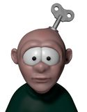 Wind up. Cartoon character with key to wind up on his head - 3d illustration Stock Photos