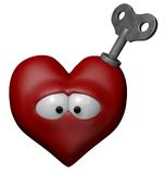 Wind-up. Red heart with ley to wind up - 3d illustration Stock Photo