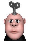 Wind up. Cartoon character with key to wind up on his head - 3d illustration Royalty Free Stock Photo