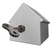 Wind-up house. Simple house model with wind-up key - 3d illustration Royalty Free Stock Image