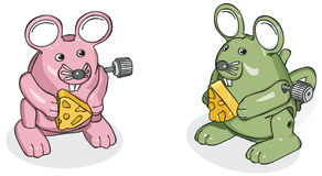 Wind-Up Mice 1. Vector art in Illustrator 8. Toy mice. Outline and color on separate layers Stock Photography