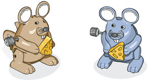 Wind-Up Mice 2. Vector art in Illustrator 8. Toy mice. Outline and color on separate layers Royalty Free Stock Image