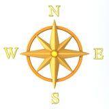 Wind van het kompas nam 3d toe Stock Afbeelding