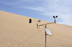 Wind vane. The wind vane is set in the desert, for scientific research royalty free stock images
