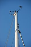 Wind vane and speed sensor. On top of mast stock image