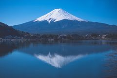 Mount Fuji and Lake Reflections stock photography