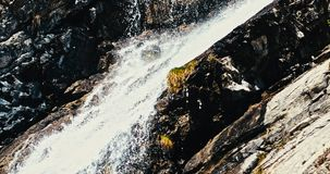 Wind waterfall in Alps. Waterfall on mountain river in Alps. Mountain landscape stock footage