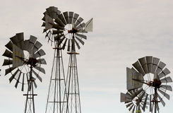 Wind wheels in Texas. Traditional wind wheels and windmills in the Plains of the Texas Panhandle royalty free stock image
