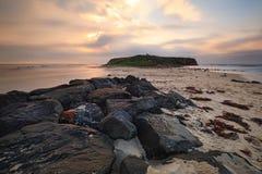 Windang Island near Wollongong. Long exposure after sunrise views towards Windang Island.  The native name for Windang Island was Kauyanggang Stock Photos