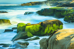 Windansea Beach La Jolla. This image of the Windansea Beach in La Jolla, California was captured early in the morning. The lichen covered green rocks contrast stock photo