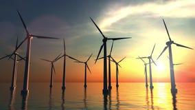 Windarbeitsturbinen bei Seesonnenuntergang Klipp des Transportwagens 4K stock video