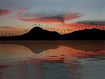 Windbauernhof am Sonnenuntergang Lizenzfreie Stockbilder