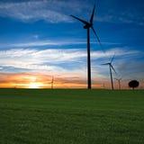 Windbauernhof am Sonnenuntergang Stockbild