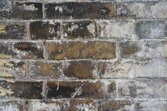 Windblown alte Backsteinmauer: alte Ziegelsteine schwärzen Farbe mitten in Rahmen, und bedeckt mit weißen Formziegelsteinen auf d Stockfotografie