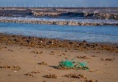 Windblown vågor som bryter på kusten med en vindlantgård på horisonten royaltyfri fotografi