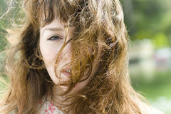 Windblown Young Woman Royalty Free Stock Photography