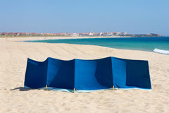 Windbreak on beach Stock Photos