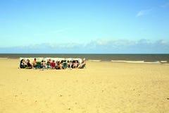 Windbreak for families. Stock Photo