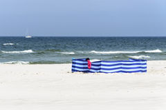 Windbreak on a wide golden beach at the Polish seaside Stock Photography