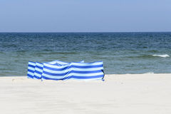 Windbreak on a wide golden beach at the Polish seaside Royalty Free Stock Images