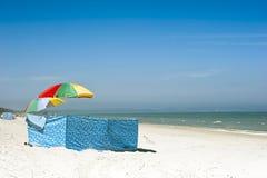 Windbreaker on beach Stock Image