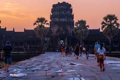Winde - Angkor Wat Temple bei Sonnenaufgang Lizenzfreies Stockfoto