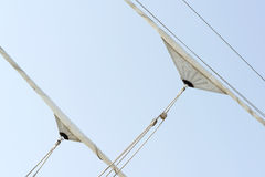 Winded sailing vessel sails Stock Photo