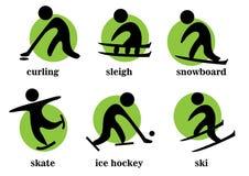Winden, Pferdeschlitten, Snowboard, Rochen, Eishockey, Ski, Sportikonen Lizenzfreies Stockfoto
