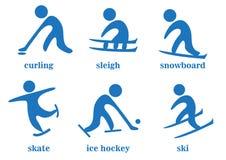 Winden, Pferdeschlitten, Snowboard, Rochen, Eishockey, Ski, Sportikonen Lizenzfreies Stockbild