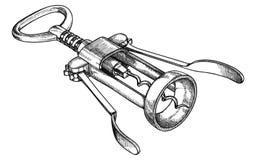 Winden Sie mechanisch, für öffnende Weinflaschen, Schwarzweiss-Vektorillustration eigenhändig lizenzfreie abbildung