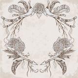 Winden Sie mit dem Geweih, Feder, Pfeil, Blume, Blatt und Niederlassung in boho Art vektor abbildung