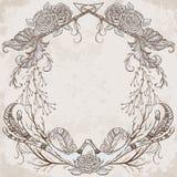 Winden Sie mit dem Geweih, Feder, Pfeil, Blume, Blatt und Niederlassung in boho Art stock abbildung