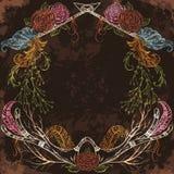 Winden Sie mit dem Geweih, Feder, Pfeil, Blume, Blatt und Niederlassung in boho Art lizenzfreie abbildung