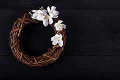 Winden Sie mit Frühlingsblumen auf einem dunklen hölzernen Hintergrund Stockfoto