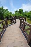 Windende brug onder blauwe hemel Royalty-vrije Stock Foto's