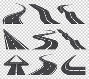 Windende gebogen weg of weg met noteringen Richting, vervoersreeks Vector illustratie vector illustratie