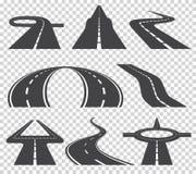 Windende gebogen weg of weg met noteringen Richting, vervoersreeks Vector illustratie stock illustratie