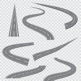 Windende gebogen weg of weg met noteringen Vector illustratie stock illustratie