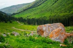 Windende Weg in Bergen Weg door weiden van bergketen Grote steen op voorgrond en mening bij het winden van weg in bergen Stock Afbeelding