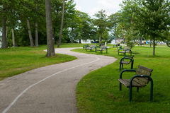Windende weg in het park Stock Afbeeldingen
