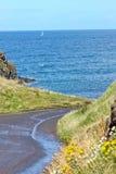 Windende weg langs Ierse Kust, Noord-Ierland Stock Fotografie